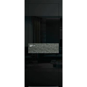 Дверь Colorize Rock C с черными глянцевыми стеклянными панелями и центральной вставкой каменного шпона