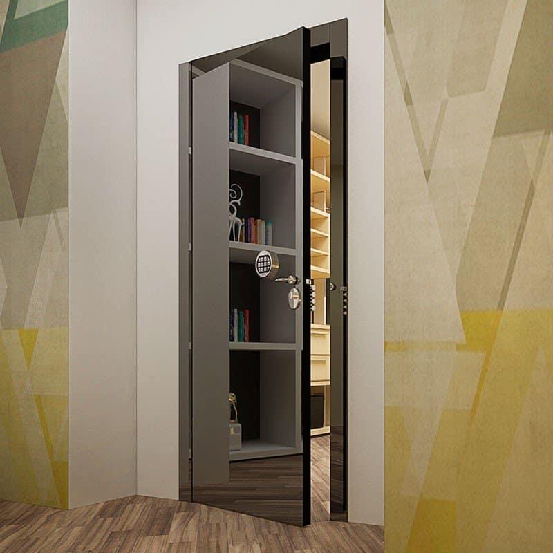 Взломостойкая межкомнатная дверь Blanco Graphite Mirror Secure. в интерьере